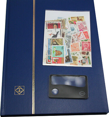 Stamp collectors starter kit, for children and adults with stamps and magnifier