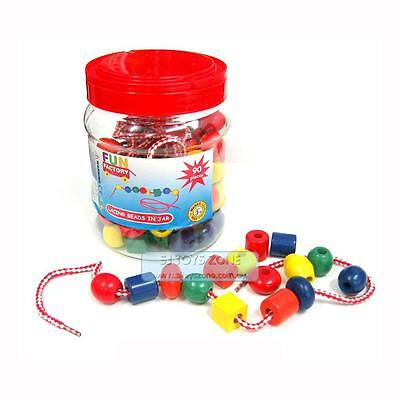 Wooden Lacing Beads In Jar 90 pcs Threading Play Set Children Learning Toy Gift