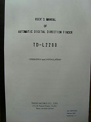 Taiyo Musen Co TD-L2200 Automatic Digital Direction Finder Soft Cover Manual