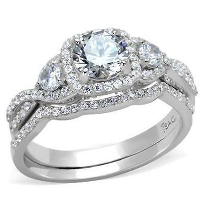 925 Solid Sterling Silver 3 Round Halo CZ Wedding Promise  2PC Ring Band Set