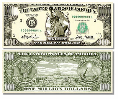 15 Factory Fresh Novelty Miss Liberty Million Dollar Bills #1 Selling Bill