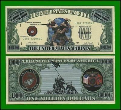 5 Factory Fresh Novelty US Marines Million Dollar Bills