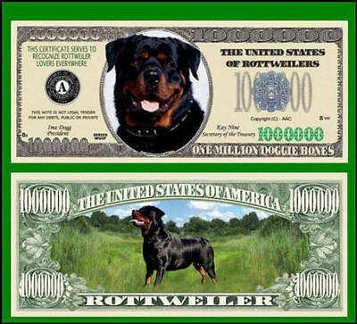 5 Factory Fresh Novelty Rottweiler Million Dollar Bills