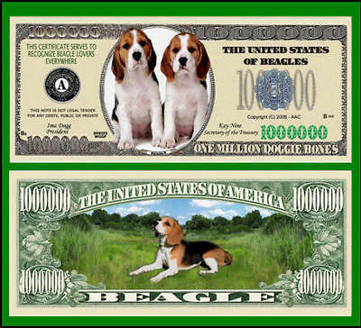 5 Factory Fresh Novelty Beagle Dog Million Dollar Bills