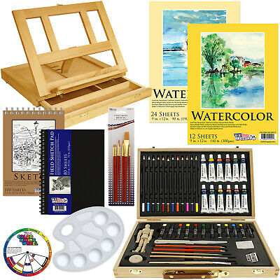 60-Piece Custom Artist Watercolor Painting Set with Table Easel & Paint