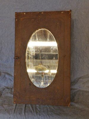 Vintage Industrial Rust Metal Surface Mount Medicine Cabinet Oval Mirror 5111-15