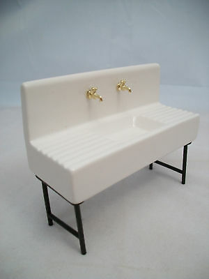 Dollhouse Miniature White Porcelain Sink Kit Kitchen or Utility Room 1:12 Scale