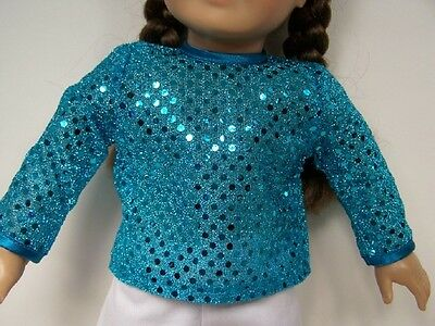"BLACK Sparkle Faux Sequin Shirt-Top Doll Clothes For 18/"" American Girl Debs"