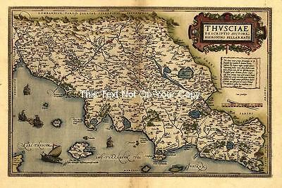 Large A1 Ortelius Central Italy Repro Old Antique Tuscany 30x23 inch Italian Map