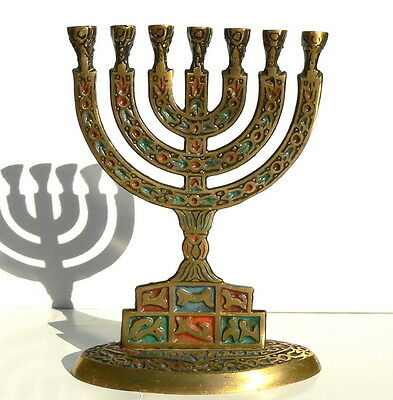 Nice Old Jewish MENORAH 7 Branch Jerusalem Holy Land Temple Lamp Zodiac Signs
