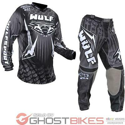 Wulf Arena Adult Black Motocross Kit Wulfsport Off Road MX ATV Quad Jersey Pants