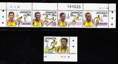 1980 JAMAICA Olympic Games - Complete Set in Margin Strip of 4 Plus 1 - Mint