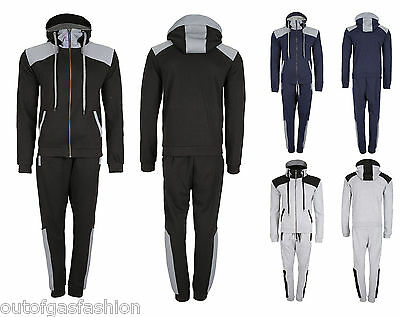 New Mens Hooded Cap Full Tracksuit Brass Zip Slim Fit Pique Jogging Top Bottom