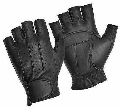 Leather Fingerless Driving Gloves Bus Car Bike Cycling Training Gym Bodybuilding