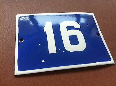ANTIQUE VINTAGE ENAMEL SIGN HOUSE NUMBER 16 BLUE DOOR GATE STREET SIGN 1950's