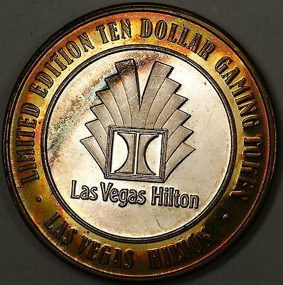 Las Vegas Hilton Limited Edition Ten Dollar Fine 999 Silver Casino Gaming Chip