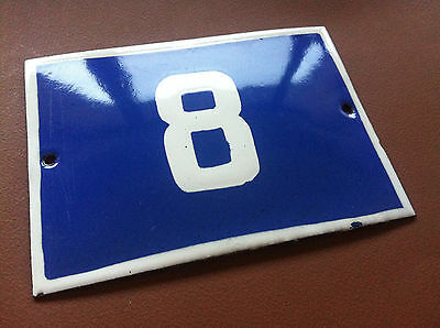 ANTIQUE VINTAGE ENAMEL SIGN HOUSE NUMBER 8 BLUE DOOR GATE STREET SIGN 1950's