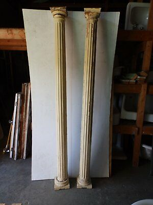 "Antique Pair Decorative 86"" Fluted Porch Columns Old Shabby Vintage Chic 5115-15"