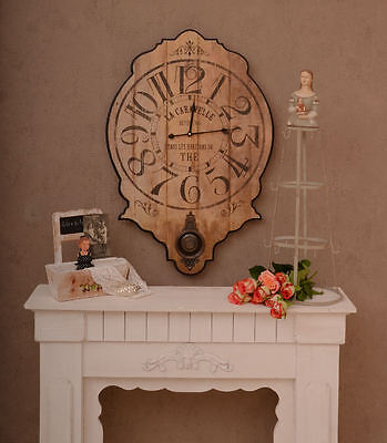 LARGE WALL CLOCK & SUSPENSION FRENCH COUNTRY HOUSE STYLE VINTAGE Kitchen clock