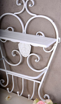 Wall Shelf Towel Holder Shabby Chic White