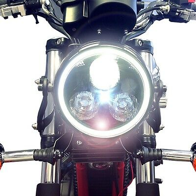 Black LED Headlight with White Angel Eye Halo Ring Motorcycle Cafe Racer Project