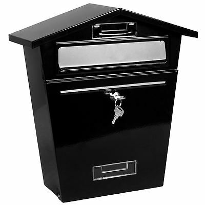 Steel Post Box Black Mailbox Lockable Letter Mail Wall Mounted By Home Discount