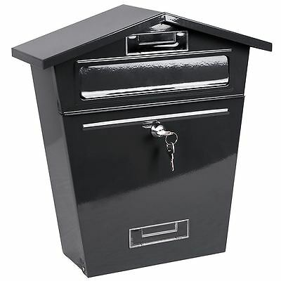 Steel Post Box Grey Mailbox Lockable Letter Mail Wall Mounted By Home Discount