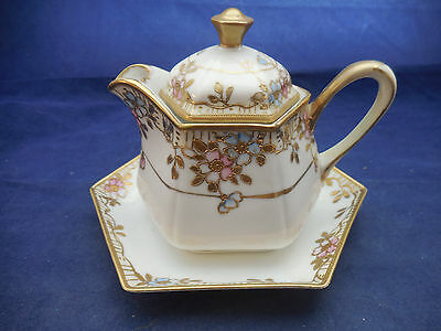 Nippon Hand Painted Creamer With Under Dish