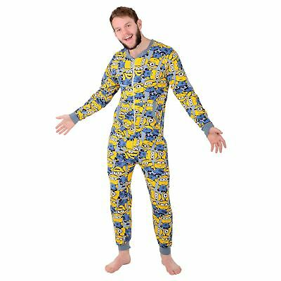 Mens Despicable Me Minion Sleepsuit Cotton Pyjamas All In One Nightwear