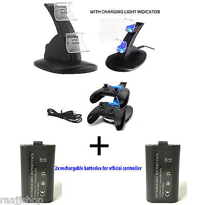 USB CHARGER DOCKING STATION CHARGING STAND +2x BATTERIES FOR XBOX ONE CONTROLLER