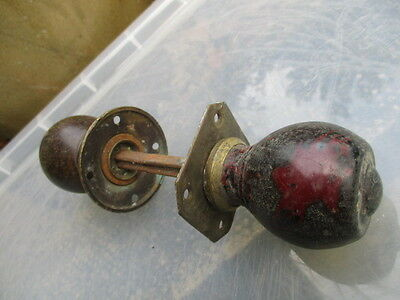 Antique Wooden Door Knobs Handle Pulls Brass Plates Vintage Architectural Old