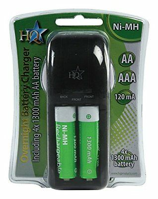 HQ PLUG IN AA / AAA BATTERY CHARGER + 4 x AA BATTERIES PLUG-IN RECHARGEABLE NEW