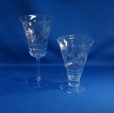 Cambridge Willow Blue Decagon 1 Tumbler 1 Goblet with Cutting
