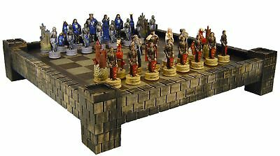 MEDIEVAL TIMES Camelot KING ARTHUR / Sir Lancelot Knights Chess Set CASTLE Board
