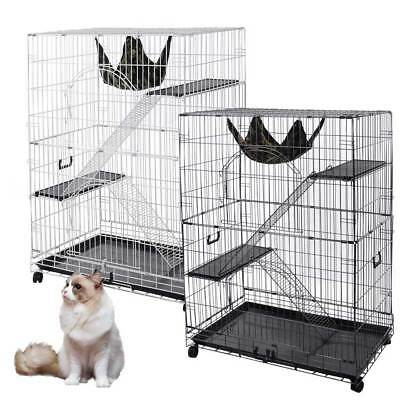 "51""  2 Door Pet Cat Cage Playpen Metal Wire Crate w/Tray Bench Ladder & Hammock"