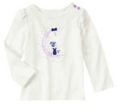 NWT Gymboree LAVENDER BUNNY White Girl On Moon Button Shoulder L//S Top