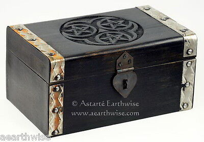 HECATE TRIPLE PENTACLE PENTAGRAM TIMBER BOX - Wicca Witch Pagan Tarot Goth