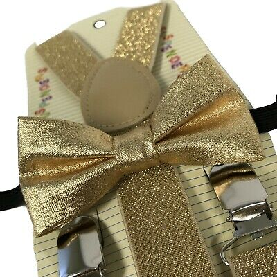 """GOLD GLITTER"" Matching Suspender & Bow-Tie Set Kids Toddler Baby Boys Girls"