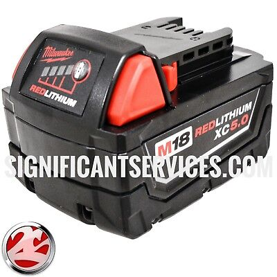 New Milwaukee 48-11-1850 18V M18 18 Volt XC 5.0 AH Red Lithium Ion Battery Pack