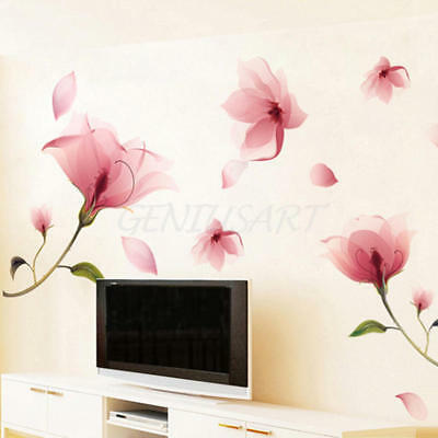Pink Blossom Flowers Removable Wall Stickers Vinyl Art Decal Home Decor Mural