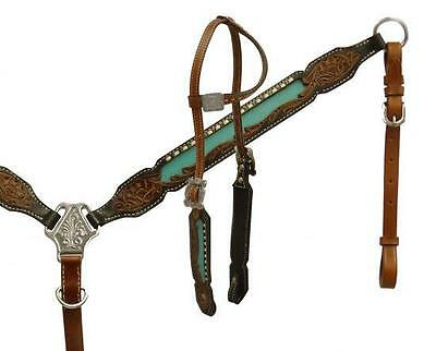 Showman Single ear headstall and breast collar set with TEAL inlay! HORSE TACK!