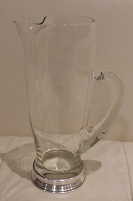 "Wallace Star Pattern Crystal & Sterling Silver Base Cocktail Pitcher 9 3/4"" H"