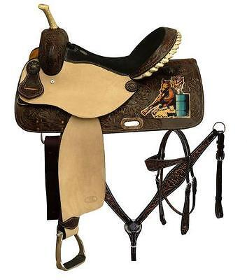 """16"""" 5PC PACKAGE CIRCLE S Barrel saddle set with painted barrel racer on skirt!"""