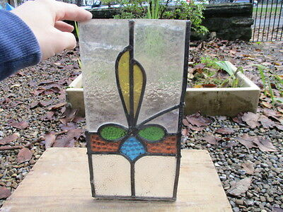 Antique Stained Glass Panel Offcut Architectural Salvage Vintage Art Nouveau Old