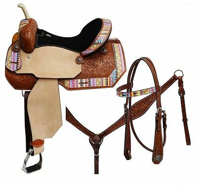 """NEW 16"""" 5PC PACKAGE CIRCLE S Barrel saddle set Multi Colored Aztec Print Overlay"""