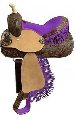 """New 13"""" Double T Youth Saddle with PURPLE Fringe and PURPLE Suede Seat!"""