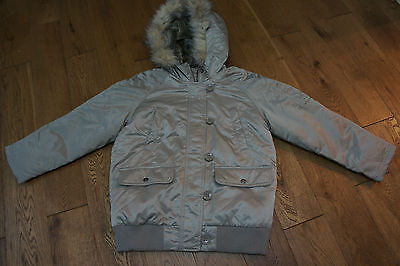 Bn Gap Girls Silver Metallic Hooded Fur Trim Zip Up Jacket Age 12-13 Years £44.9