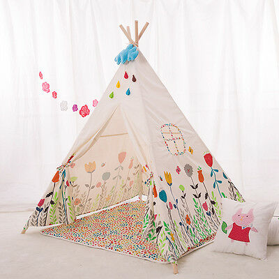 Large Cotton Canvas Kids Boys Girls Cute Flower Square Teepee Outdoor Tent