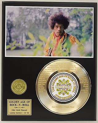 Jimmy Hendrix  Laser Etched With Lyrics Limited Edition Gold Record Display