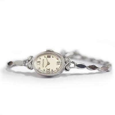 1950s Vintage LeCoultre 14k White Gold and Diamond Petite Ladies Cocktail Watch
